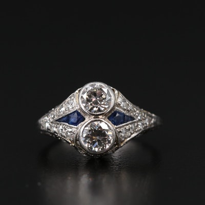 Art Deco Platinum 1.27 CTW Diamond and Sapphire Ring
