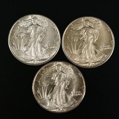 1941-D, 1942 and 1943 Walking Liberty Silver Half Dollars