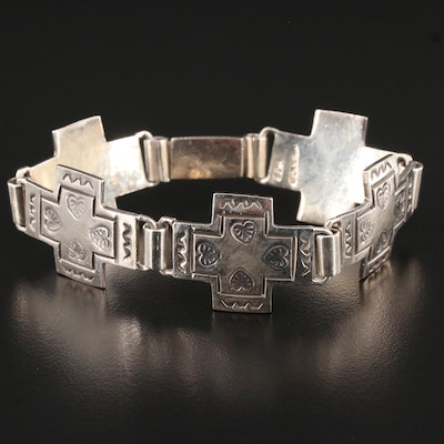 Mexican Sterling Silver Cross Link Bracelet Featuring Stamp Work Design