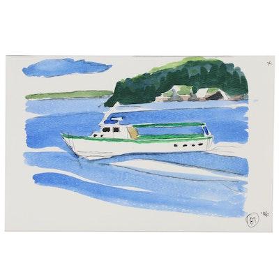 Robert Herrmann Seascape Watercolor Painting, 1996