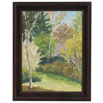 Shady Forest Clearing Landscape Oil Painting