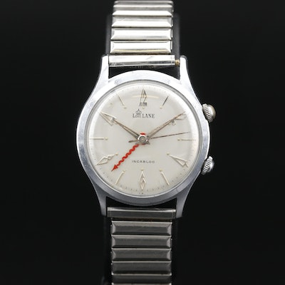 Vintage Lord Lane Chrome Plated Stem Wind Alarm Wristwatch