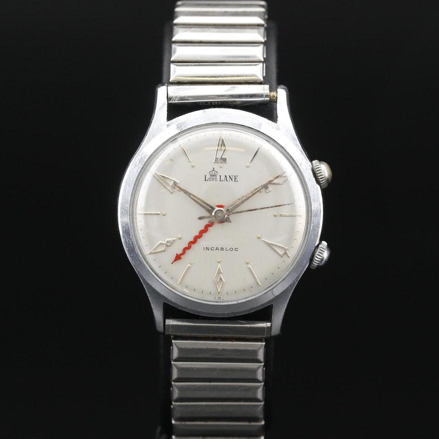 Vintage Lord Lane Chrome Plated Stem Wind Alarm Wristwatch