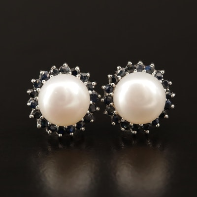 14K Pearl and Sapphire Earrings