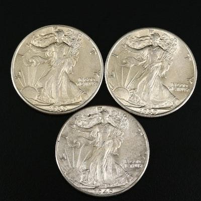 1939, 1939-D and 1940 Walking Liberty Silver Half Dollars