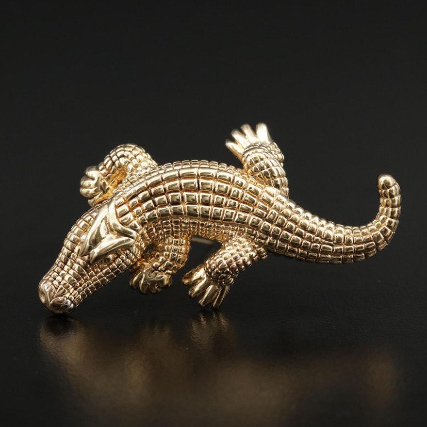 Vintage 14K Alligator Brooch
