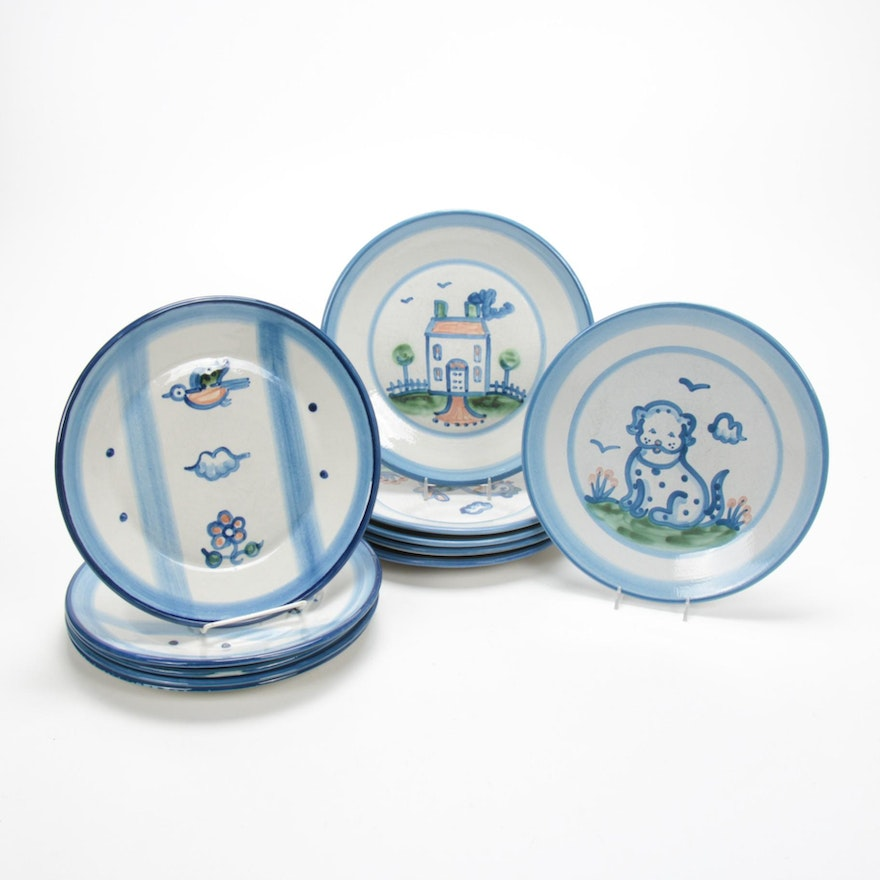 """M.A. Hadley """"Country Scene Blue"""", """"Blue Horse"""" and Other Stoneware Dinner Plates"""