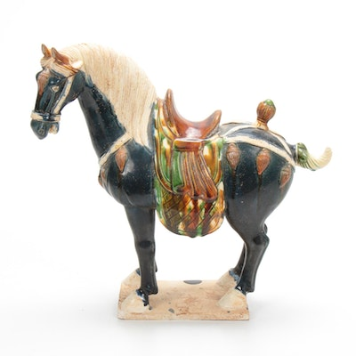 Sancai-Glazed Pottery Horse, Tang Dynasty Reproduction