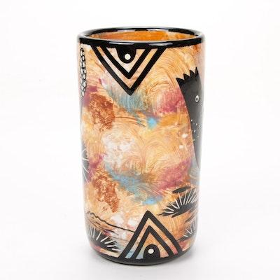 Mana Storyteller Santa Fe Earthenware Pottery Bird Tumbler