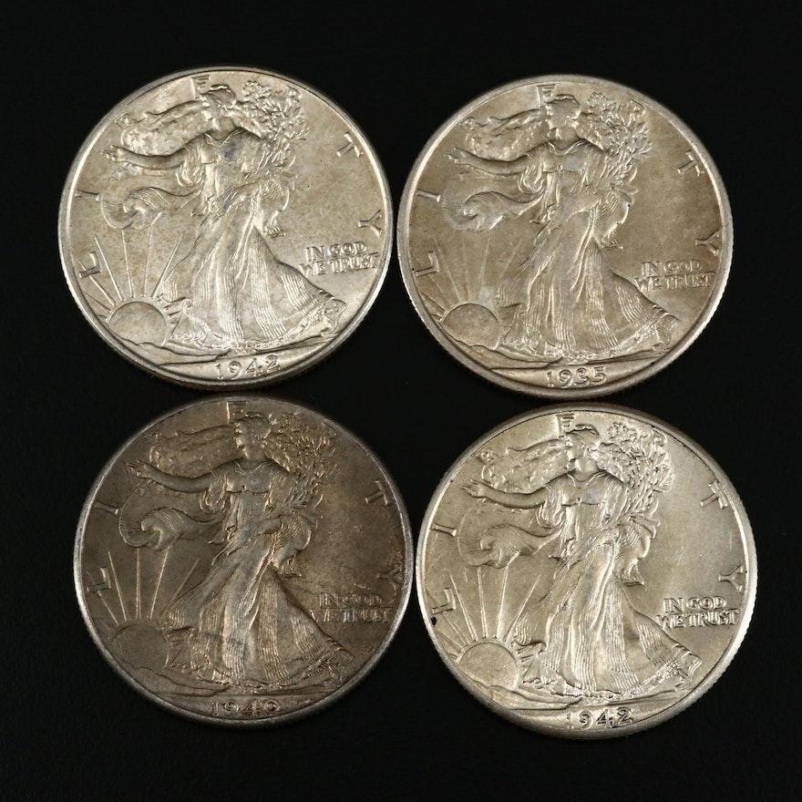 Four Walking Liberty Silver Half Dollars