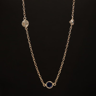 14K Sapphire and Cubic Zirconia Station Necklace