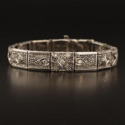 Vintage 14K Diamond Filigree Bracelet with Palladium Accents