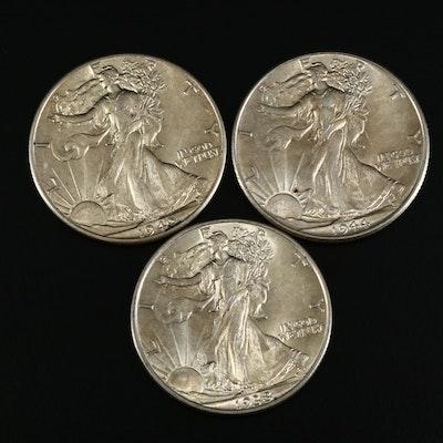 1933, 1940 and 1944 Walking Liberty Silver Half Dollars