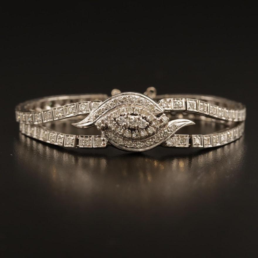 14K 1.75 CTW Diamond Double Line Bracelet