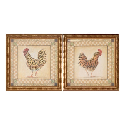 Offset Lithographs after James Wiens of Animal-Print Chickens