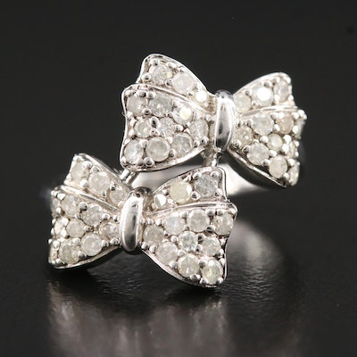 Sterling Silver Double Bow Tie Diamond Bypass Ring