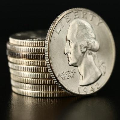 Ten Washington Silver Quarters