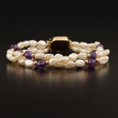 Pearl and Amethyst Three Strand Bracelet with 14K Accents