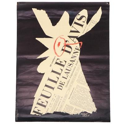 """Vintage Poster after Herbert Leupin """"Feuille D'Avis De Lausanne"""", 1958"""