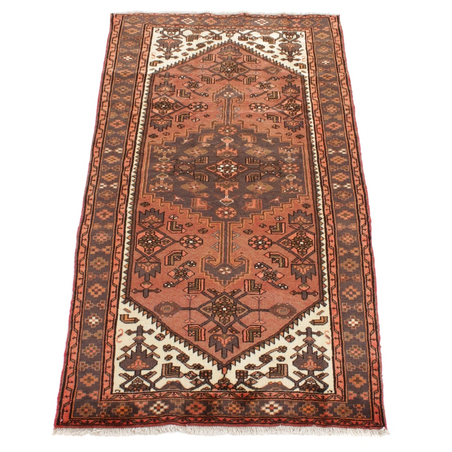 4'1 x 7'4 Hand-Knotted Persian Malayer Rug, 1980s