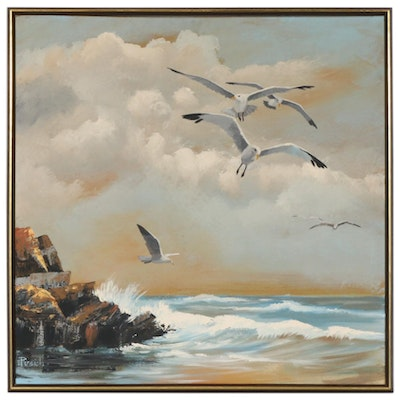Ronald G. Pusich Oil Painting of Coastal Scene with Seagulls, circa 1974