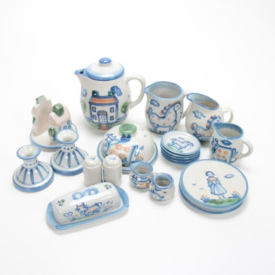 "M.A. Hadley ""Country Scene Blue"" Stoneware Table Accessories and Serveware"