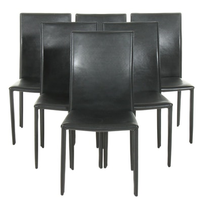 Contemporary Black Faux Leather Upholstered Dining Chairs, 21st Century