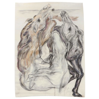 Esther Liu Charcoal Drawing of Horses, circa 1980