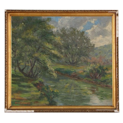 Creekside Landscape Oil Painting, 1989
