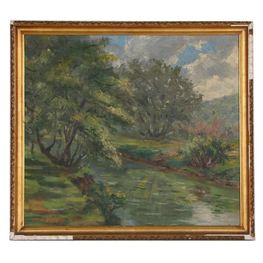 Creekside Landscape Oil Painting, 1989
