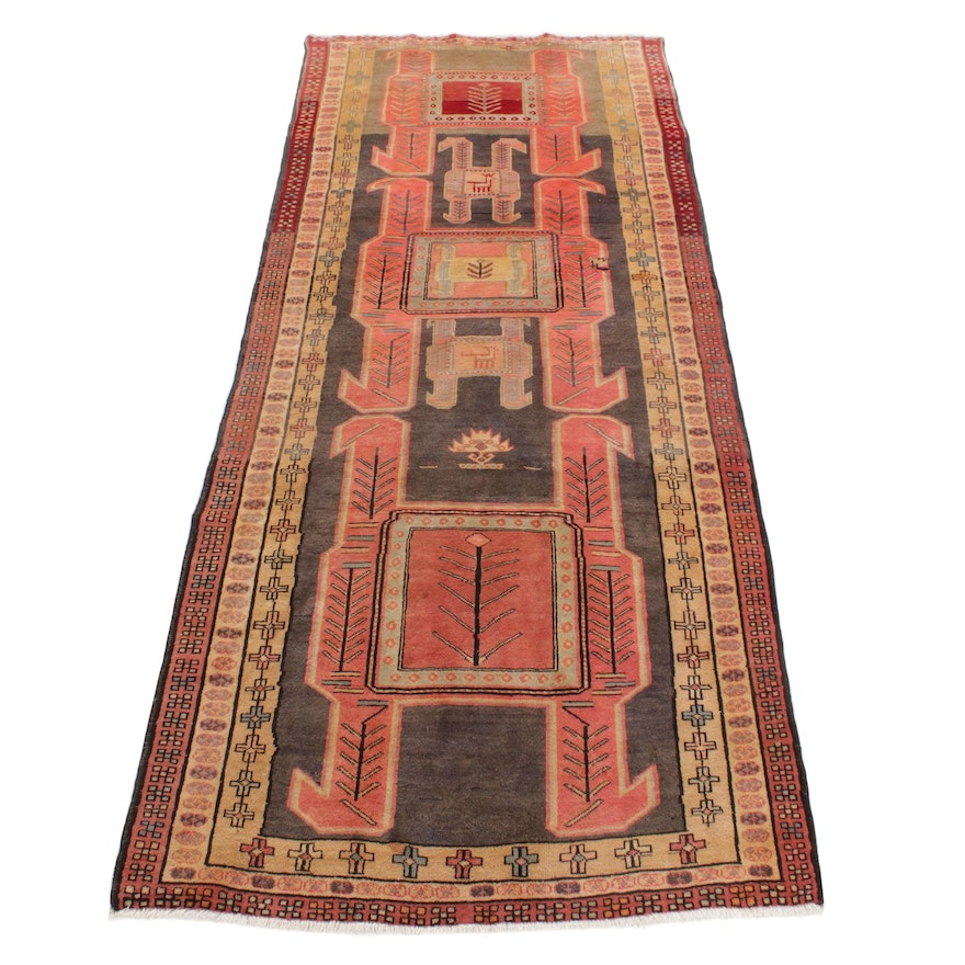 4'7 x 10'9 Hand-Knotted Northwest Persian Pictorial Hallway Runner, 1950s
