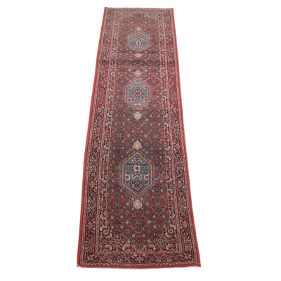 2'8 x 9'9 Hand-Knotted Indo-Persian Bijar Carpet Runner, 2000s