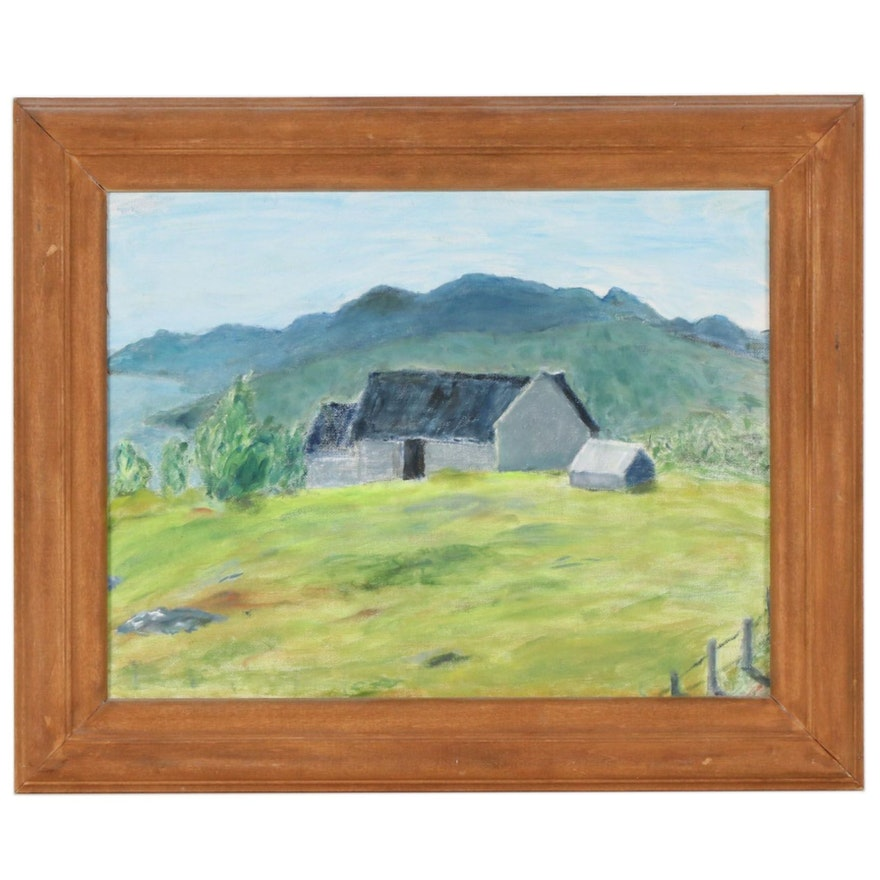 Landscape Oil Painting of a Barn
