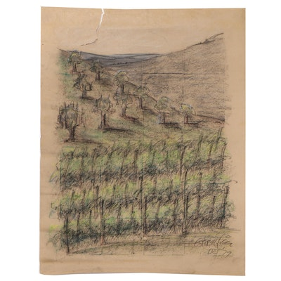 Esther Liu Abstract Charcoal Drawing of a Vineyard, 1979