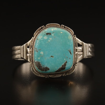 John Nelson Navajo Diné Sterling Turquoise Cuff