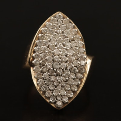 14K 1.95 CTW Pavé Diamond Navette Ring