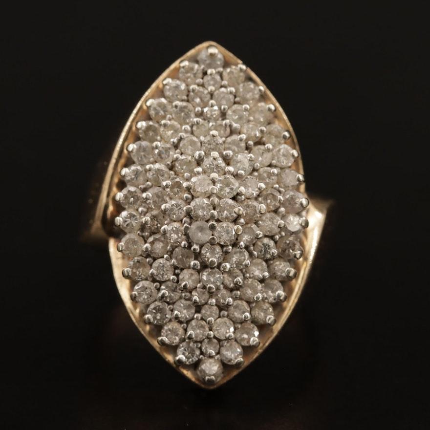 14K 1.95 CTW Pavé Diamond Navette Ring