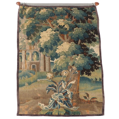 Flemish Style Verdure Landscape Tapestry Fragment, Late 17th Century