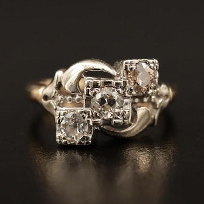 1940s Diamond Three Stone Ring