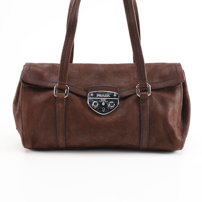 Prada Antic Easy A Leather Foldover Shoulder Bag in Teak