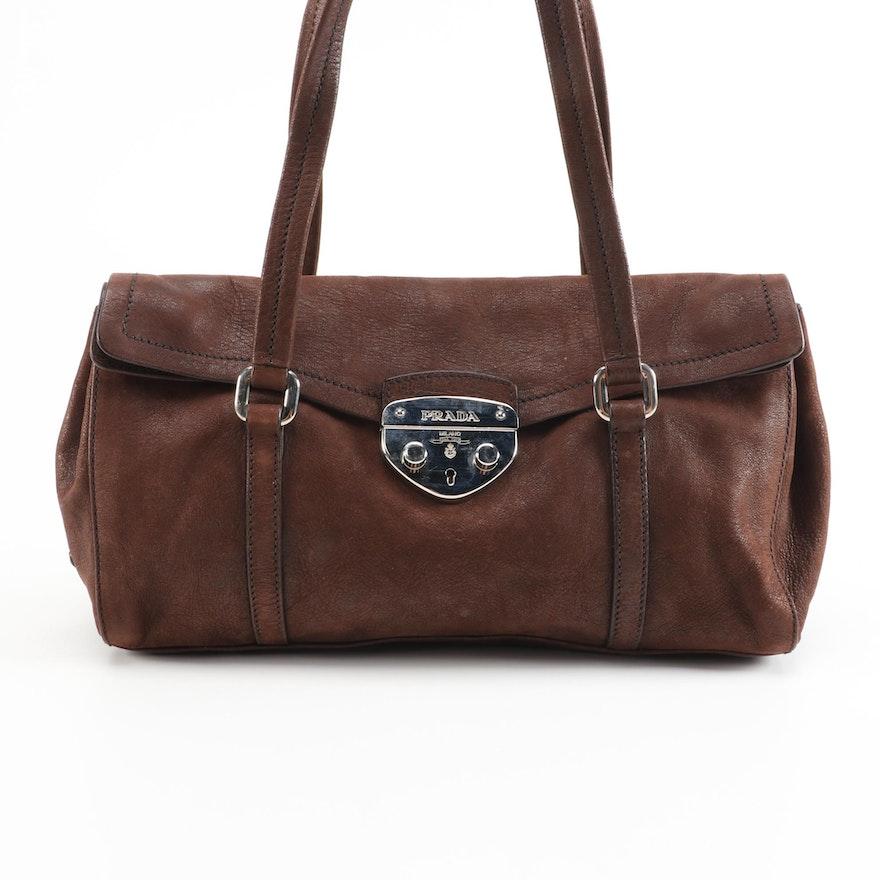 Prada Antic Easy A Leather Foldover Shoulder Bag in Teak
