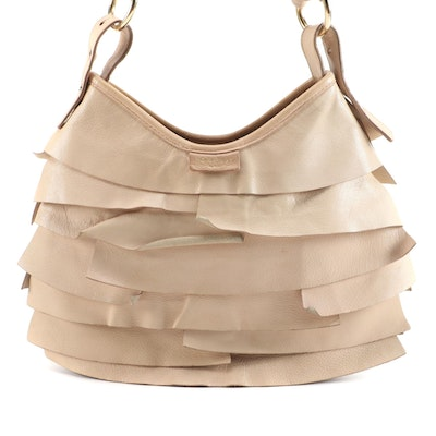 Yves Saint Laurent Rive Gauche St. Tropez Shoulder Bag in Beige Ruffled Leather
