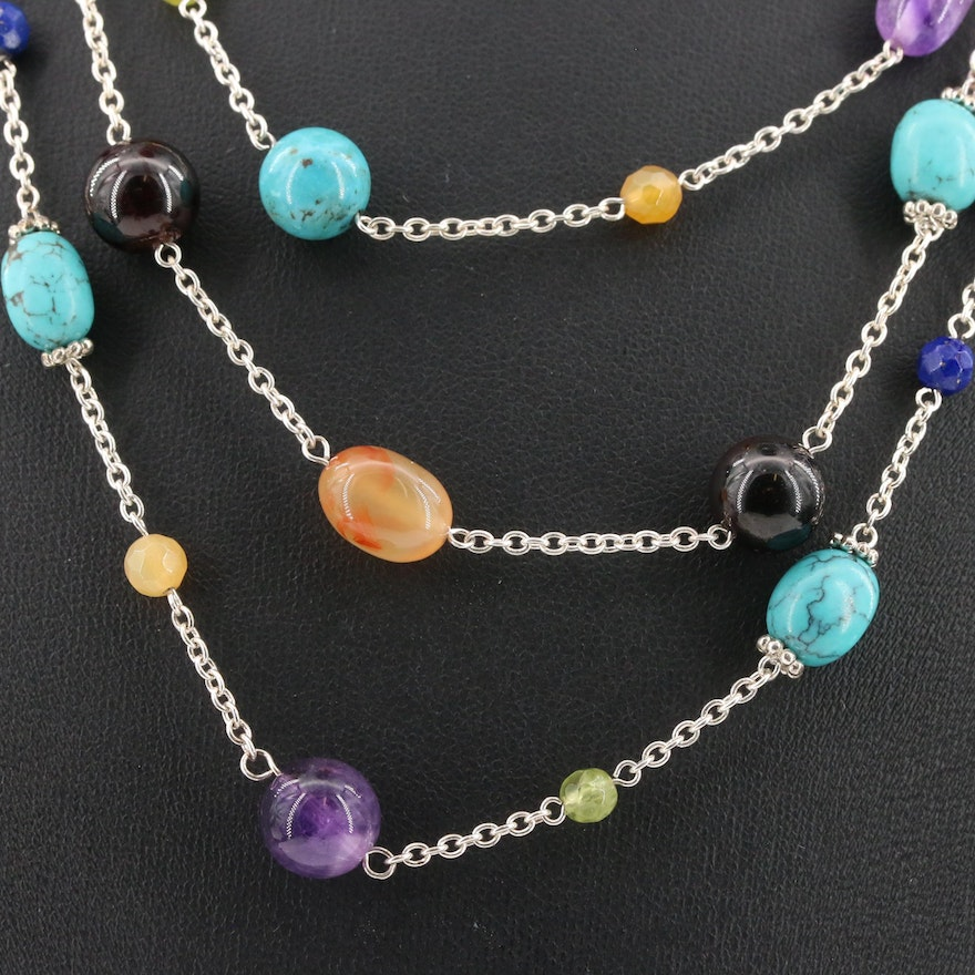 Sterling Silver Triple Strand Multi-Gemstone Station Necklace