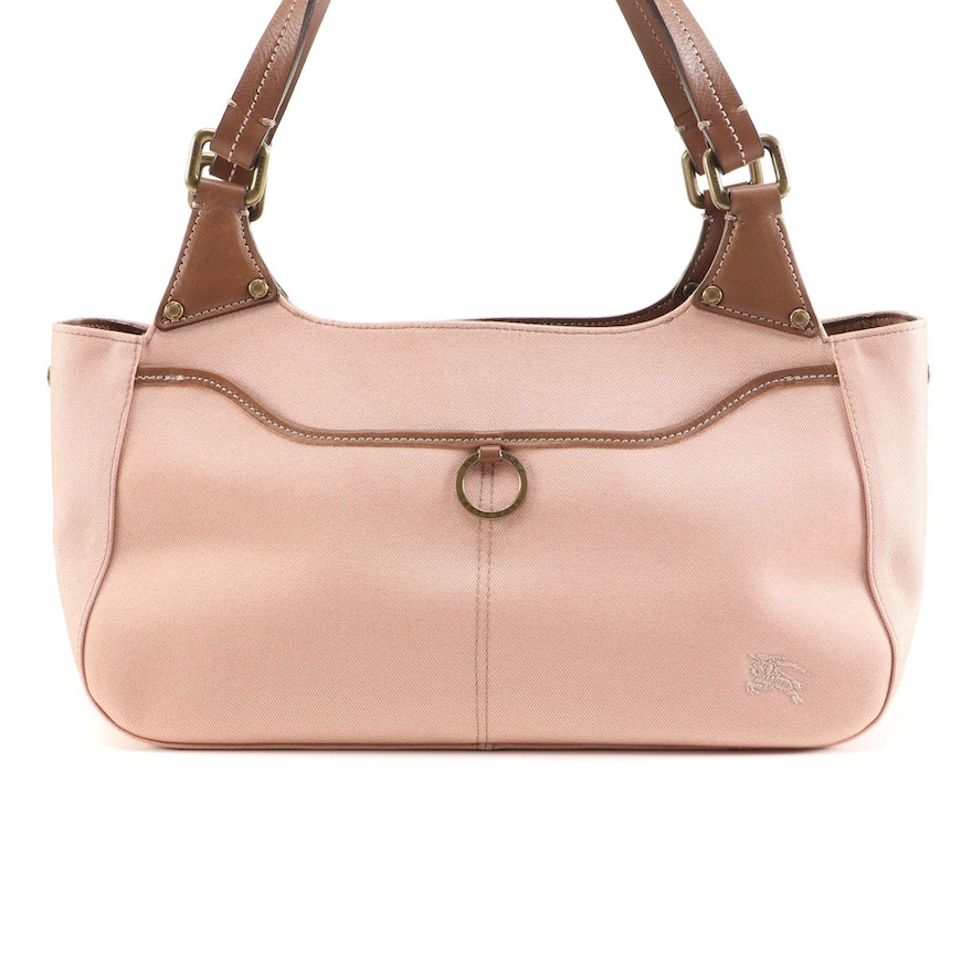 Burberry Blue Label Pink/Metallic Canvas and Brown Leather Shoulder Bag