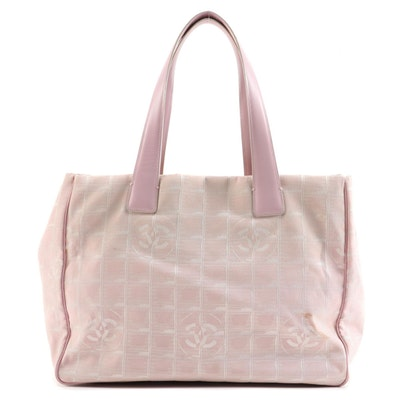 Chanel Jacquard New Travel Line Pink Canvas and Leather Tote Bag