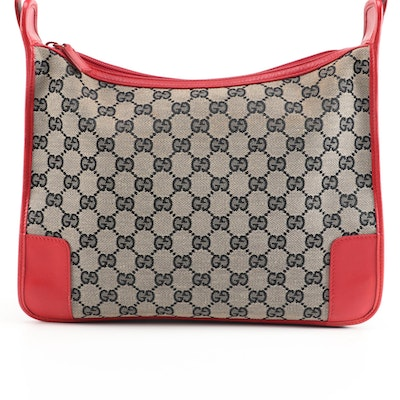 Gucci GG Canvas and Red Leather Shoulder Bag