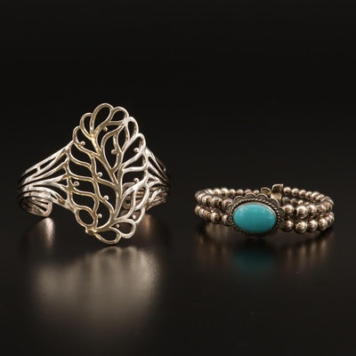 Carolyn Pollack for Relios Sterling Turquoise Bead and Openwork Tree Motif Cuffs