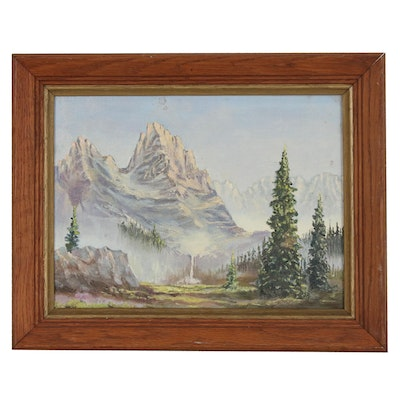 Mountainous Landscape Oil Painting, Mid to Late 20th Century