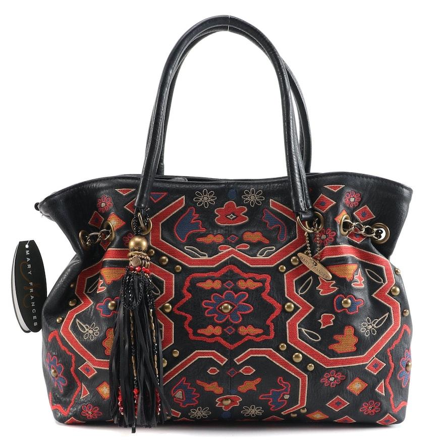 Mary Frances Caravan Embroidered Leather Tasseled Handbag and Studded Wristlet