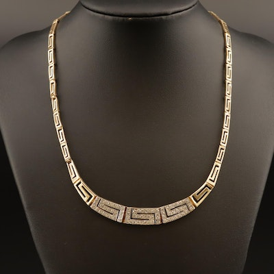 10K Tapered Greek Key Necklace with Cubic Zirconia Accents